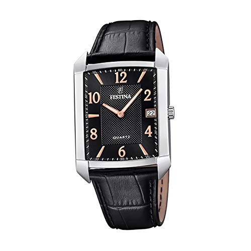 Festina Herren Analog Quarz Uhr mit Leder Armband F20464/3
