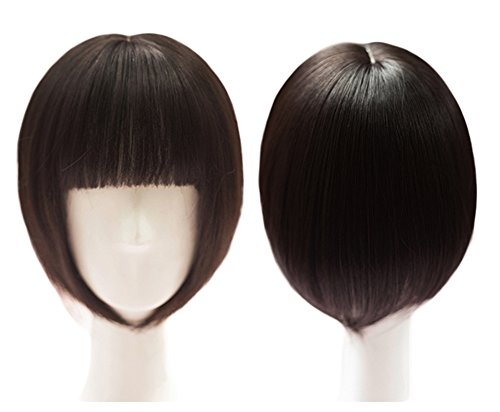 10' Hair Toppers with Bangs Clips in Bob Hair Crown Topper Toupee Hairpieces for Women (Black Thick)