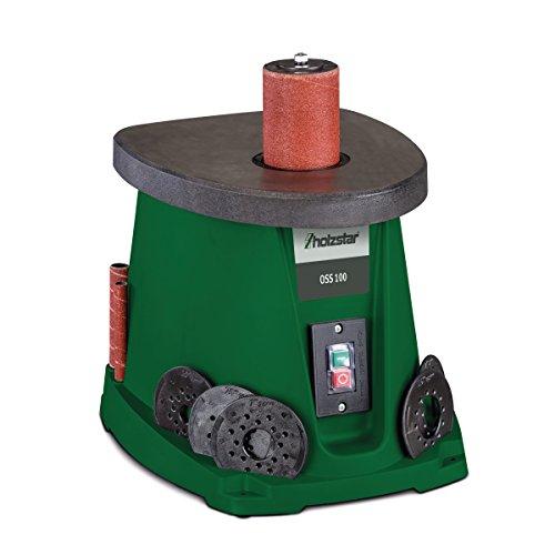 Holzstar OSS 100 Oszillierende Spindelschleifmaschine für Holzarbeiten, mit Schleifhülsen & Gummi Schleifwalzen, 5903500