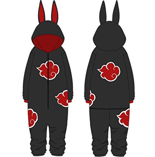 XQshop Naruto Pyjamas Overalls Anime Naruto Akatsuki Cosplay Einteiliger Pyjama Bademantel für Männer Frauen Teenager