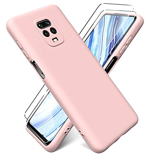 Oududianzi - Funda para Xiaomi Redmi Note 9S / Note 9 Pro + [2 Pack] Protector Pantalla, Carcasa de Silicona Líquida Gel Ultra Suave Funda con tapete de Microfibra Anti-Rasguño - Rosa