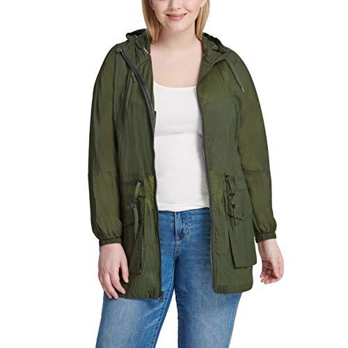 Levi's Women's Plus Lightweight Hooded Cinch Waist Windbreaker (Standard & Plus Size), Army Green, 1X