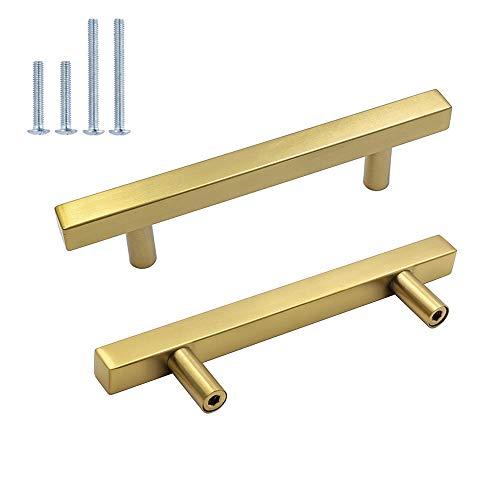 15Pieza Muebles acero inoxidable tubo cuadrado oro Puerta Fahrradgriffe LS1212gd latón Armario Tirador cajón Tirador para Incluye Tornillo
