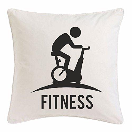 Bandenmarkt kussensloop 40x40cm Crosstrainer fiets bodybuilding gym krachttraining fitness-Studio spieropbouw voeding gewichtheffen bodybuilder van microvezel in wit
