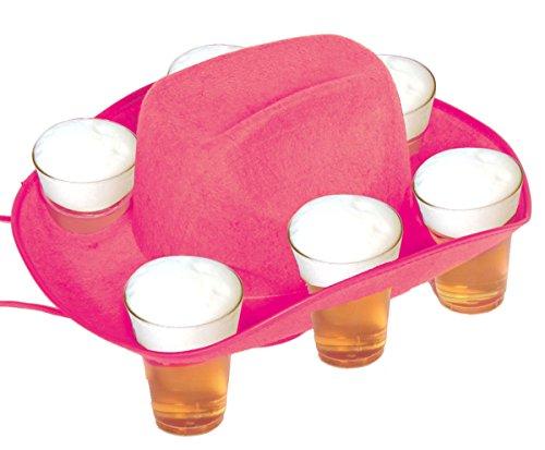 Bierhut Bierbecher Hut pink f�r 6 Gl�ser Tablett Oktoberfest Cowboyhut