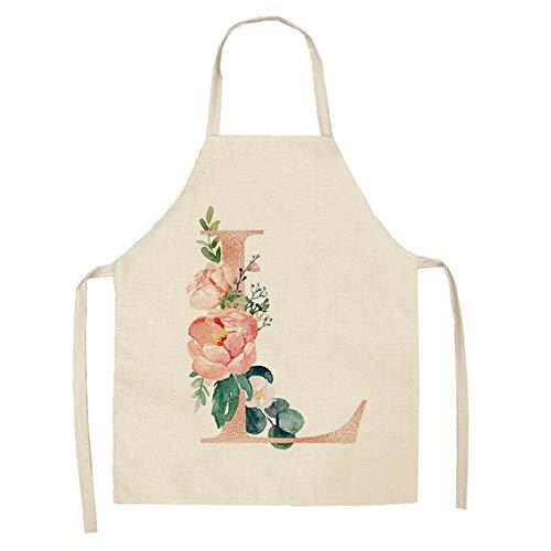 ZZZXGWQ schort, 1 stuks, roze papier, bloemen, keukenschort, voor vrouwen, slabbetjes, katoenen slabbetjes, huisreiniging, keukenschort, 53 x 65 cm, L