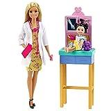 Barbie Métiers coffret poupée Docteure blonde, figurine petite patiente et son ours en peluche, accessoires inclus, jouet pour enfant, GTN51