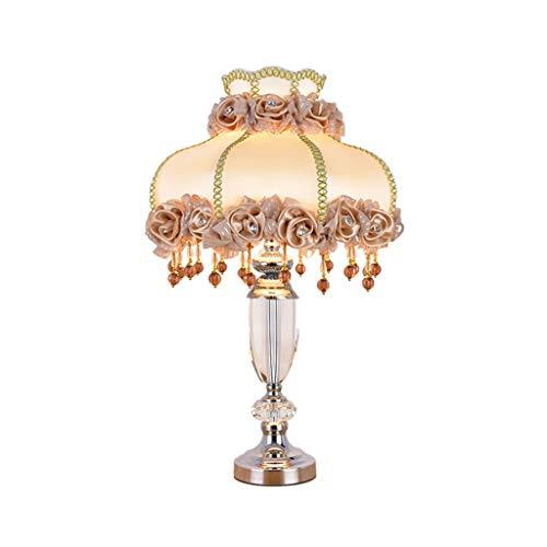 Yyqx lámpara de Mesa Lámpara de mesilla de Noche Pantalla de Tela Pantalla de Dormitorio Lámpara de mesita de Noche de Cristal Creativo Estadounidense Lámpara de salón de Dormitorio