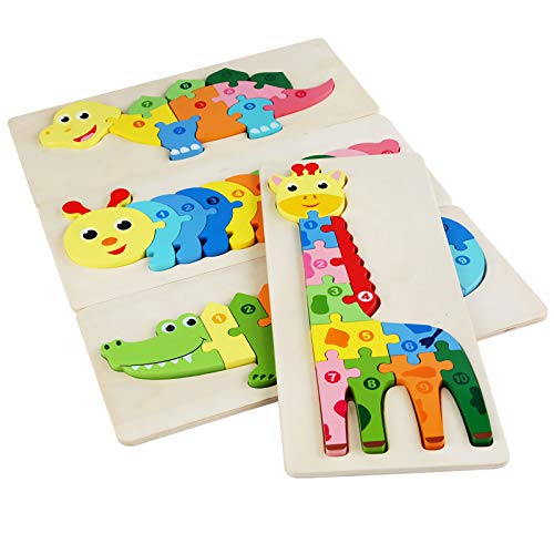 Childgoo Wooden Puzzles for Toddlers Age 2-4 Years Old, Montessori Games and Educational Toys for Kids 2-4 (4-Pack Animal Type L)