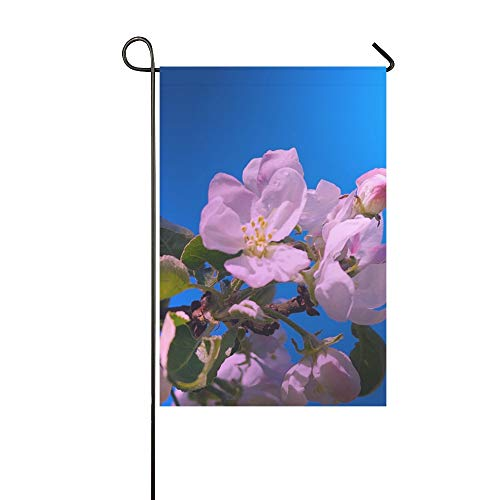 Home Decorative Outdoor Double Sided Apple Blossom Apple Tree Nature Apple Pink Garden Garden Flag,house Yard Flag,garden Yard Decorations,seasonal Welcome Outdoor Flag 12 X 18 Inch Spring Summer Gift