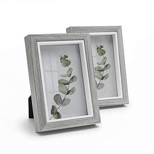 Afuly 10x15 Bilderrahmen Grau Weiß Holz Bilderrahmen Wand oder Schreibtisch Moderne Shabby Deko Geschenk,2er Set