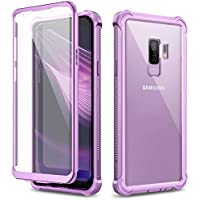 Dexnor Funda para Samsung Galaxy S9 Plus/S9+ Carcasa con Parachoques de Silicona de 360 Grados [A Prueba de Golpes] [Ligero] Panel Posterior Transparente Protector de Pantalla Incorporado - Morado