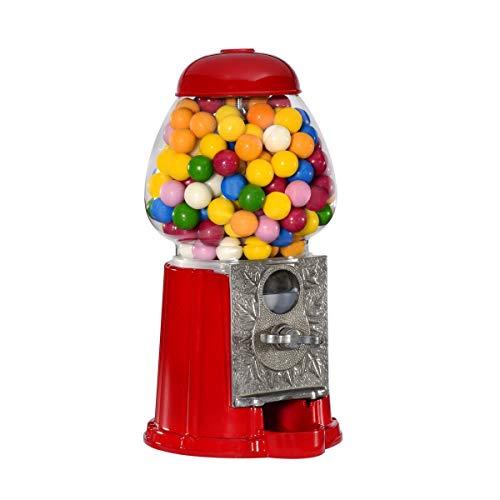 Wahou 25-1271R Distributeur de chewing-gum rétro Tirelire Rouge et transparent Métal et verre Grand modèle D16 x H28 cm