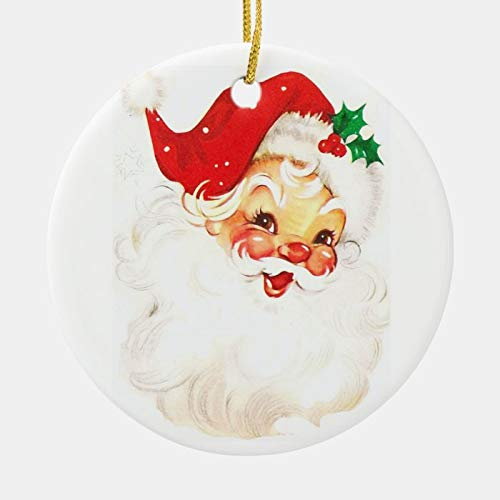 McC538arthy Christmas Santa Hat Ornaments, Vintage Santa Claus Illustration Ceramic Ornament Hanging Ornament Xmas Tree Decor Gifts 3''