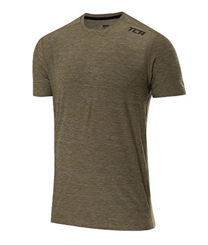 TCA Homme Galaxy T-Shirt de Sport & de Course à Manches Courtes - Kaki, L