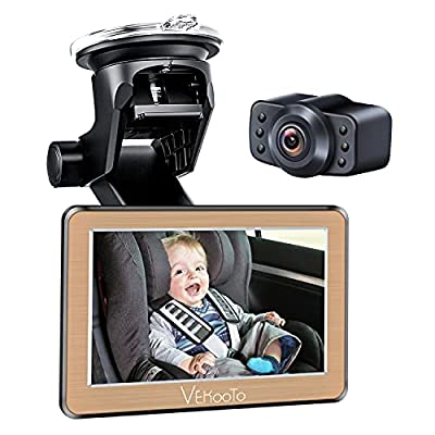 VEKOOTO Baby Car Mirror 5''Hd Display Automatically Switches the Night Vision Function, Stable Suction Cup Holder, 170° Wide-Angle Lens, Wide View, Easily View the Baby in the Back Seat