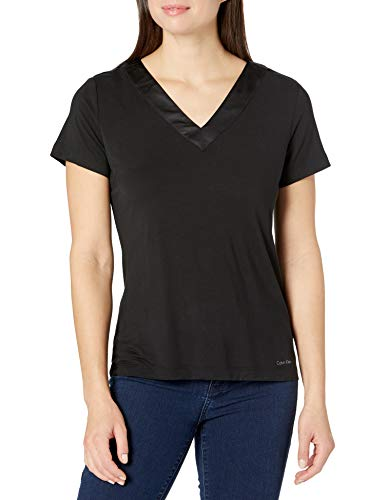 Calvin Klein Damen Modal Satin Lounge & Sleep Short Sleeve V-Neck Shirt Nachthemd, schwarz, Mittel