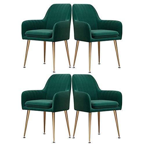 HYZXK Sillas de Comedor para Cocina, sillas auxiliares Modernas de Mediados de Siglo, sillones Decorativos tapizados en Terciopelo, Juego de 4 sillas de Ocio (Color: Verde)