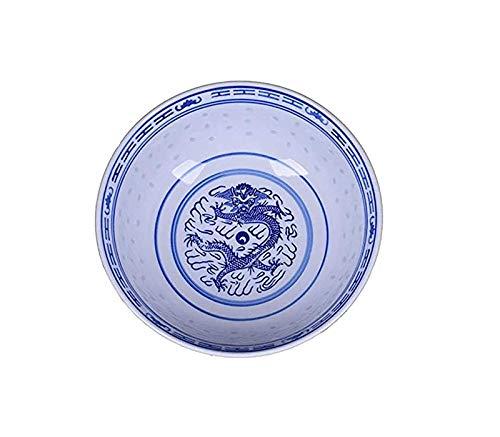 NBXLHAO Ramen nostálgico Retro Cuenco Chino Porcelana Azul y Blanca del arroz patrón de Cereales Cuencos Cuencos de arroz Cuencos de China Soup Bowl del Cuenco de Fruta Soup Bowls 2021,9inch