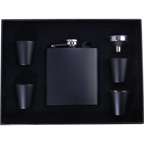 Personalized Add Your Custom Text Black 6 oz Stainless Steel Customizable Flask Gift Set with (4) Shot Glasses, Funnel, Giftbox - Father's Day, Valentines Day, Birthday, Weddings, and Groomsmen Gifts