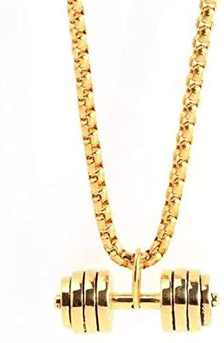 Collar de moda Mancuernas de fitness de acero inoxidable Collar de moda Joyas deportivas Collar con colgante de mancuernas de acero de titanio Collar de oro Regalo para mujeres Hombres Regalos