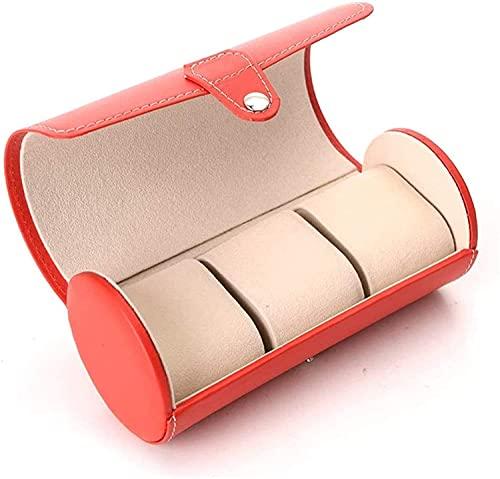 OH Mire el Cuadro de Alenamiento Rojo 3 Cilindro Reloj de Reloj de Reloj Smart Watch Box Caja de Alenamiento Joyería de Cuero Reloj Reloj Box Watch Accesorio de Viaje Alta capacidad