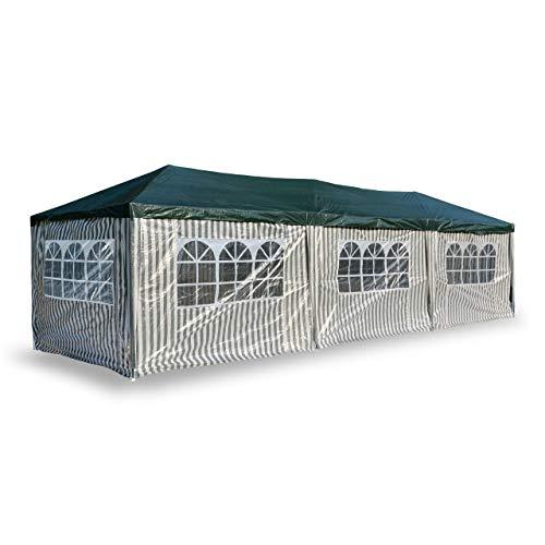 Nexos PE-Pavillon Partyzelt mit 6 Seitenteilen und 2 Eingängen für Garten Terrasse Feier oder Fest als Unterstand Plane 110g/m² wasserdicht 3 x 9 m grün
