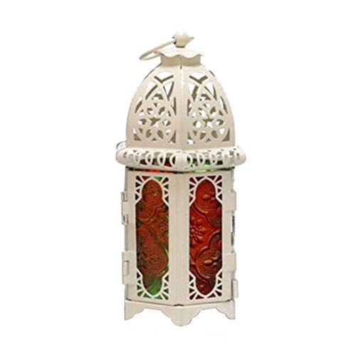 XXWW CXWHYPD Retro Windproof Candle Holder Hanging Candle Lantern Iron Glass Special Candle Holder Wooden candlestick holders (Color : White Multicolored)