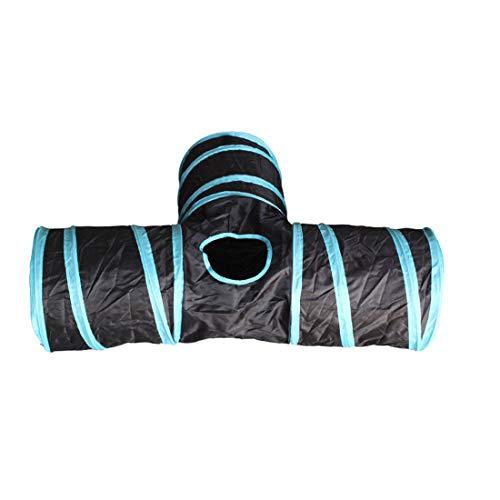 Libila Drieweg-papier-kanaal kan Folding Cat Tunnel Zhiyi Cat Toys Drill Barrel Pet Toys opbergen, zwart