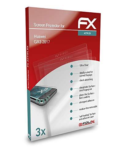 atFolix Schutzfolie kompatibel mit Huawei GR3 2017 Folie, ultraklare & Flexible FX Bildschirmschutzfolie (3er Set)
