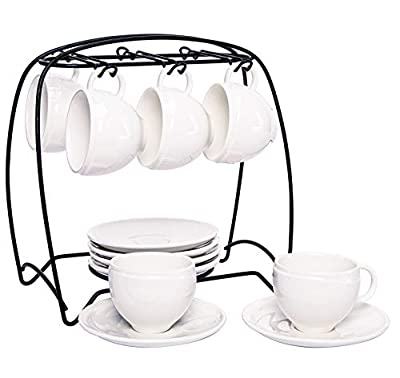 Hompiks Espresso Cups with Saucers and Metal Stand Porcelain Cup and Saucer Set, 4 oz for Coffee Cappuccino Latte and Tea Set of 6 White