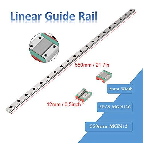 Miniatur Linearschiene Führungsschiene, MGN12 Linearführungsschiene 550 mm Linear Schiebetür Gide 12mm Breite + 2pcs MGN12C Linearführungsblock,hohe Zähigkeit,hohe Härte und hohe Genauigkeit