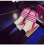 ypyrhh Zapatillas de playa para niños, zapatillas de rayas deslizantes, sandalias para el hogar, rosa roja_36, zapatillas de baño con punta abierta
