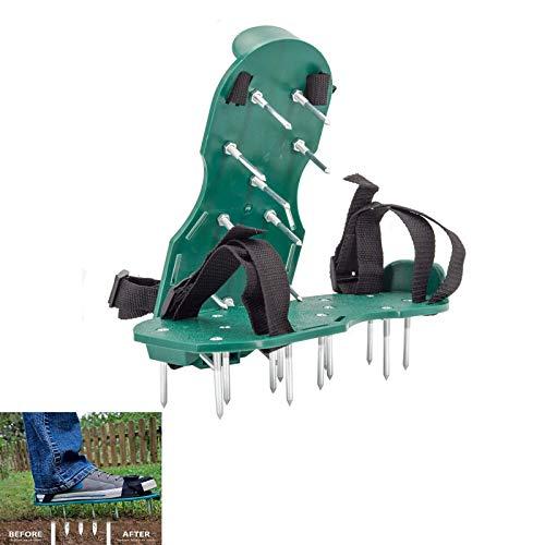 Sandalias De Aireador De Césped,1 Par Aireador De Aflojamiento Del Suelo Zapatos,Con Pinchos Herramienta De Jardinería Aireador De Cesped Zapatos(2 Straps)