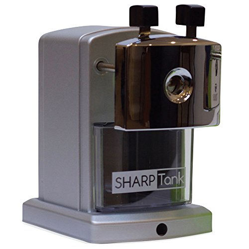SharpTank Portable Pencil Sharpener (Metallic Silver) | Compact & Quiet Classroom Sharpener That Gets Straight to the Point!