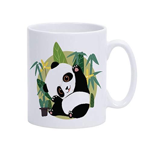 Violetpos Kaffee-Tasse Motivdruck im angesagten Porzellan Becher beidseitig Bedruckt Kaffeetasse Netter Panda Bambus Kaktus