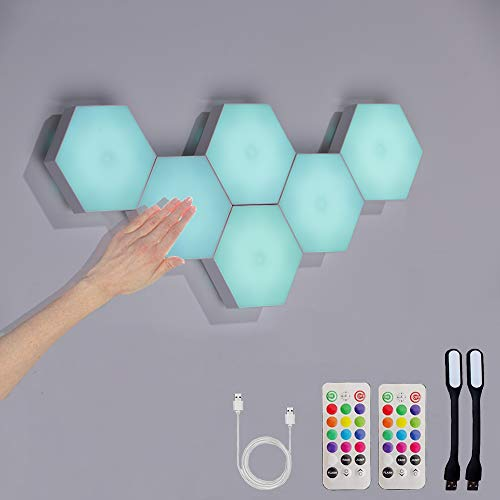 Hexagon Lights with Remote, Smart DIY Hexagon Wall Lights, Dual Control Hexagonal LED Light Wall Panels with USB-Power, Geometry Hex Lights Touch Used in Game Room Decor, Party