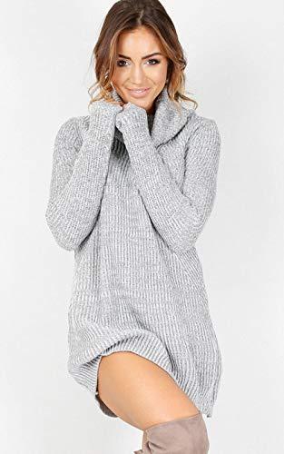 Nieuwe Dames Hoge Hals Losse Lange Mouw Oversized Trui Truien Jumper Shirt Tops Dress@Gray_M