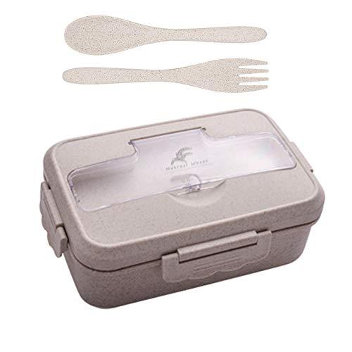 Lunchbox für Kinder, natürliche Weizenbento-Lunchbox, BPA-freie Lunch-Box, auslaufsichere Bento-Box für Kinder und Erwachsene, mikrowellen- und spülmaschinenfest,Mahlzeiten-Vorbereitungsbehälter(grau)