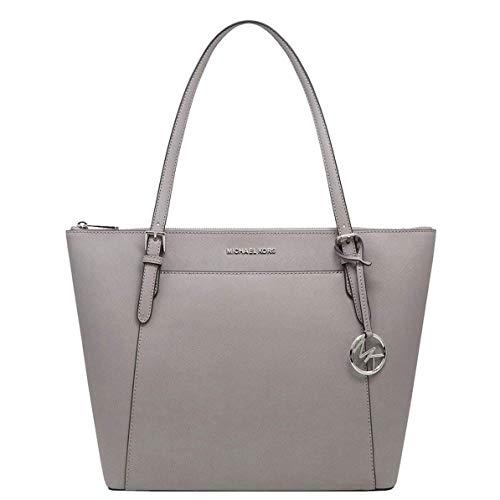 Michael Kors Women's Ciara Large EW Top Zip Tote PVC Leather Bag Pearl Grey