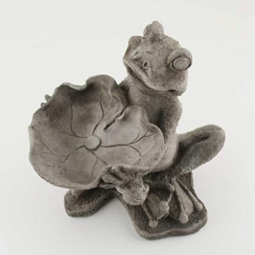 440s vogelbadje, vriendelijke kikker, antiek gegoten steen, hoogte ca. 23 cm | KK-2020-05 | 4260553563025