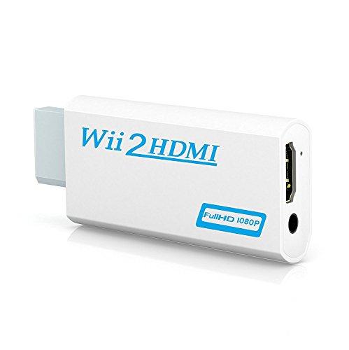 Adaptateur Wii vers HDMI, GANA Wii vers HDMI Convertisseur connecteur avec 1080p/720p Sortie Vidéo et audio de 3,5 mm – Prise en charge tous les modes d'affichage Wii (blanc)