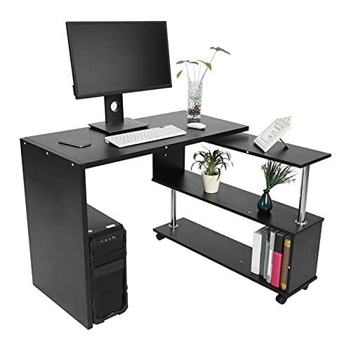 Ausla Escritorio para computadora con gabinete de Almacenamiento, Escritorio en Forma de L con 4 Ruedas Flexibles, Mesa para computadora giratoria de 360 Grados con 2 estantes(Negro)