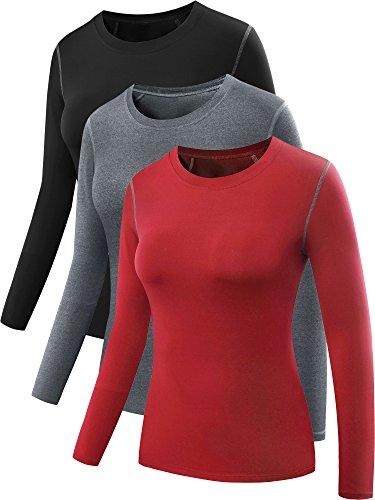 Neleus Women's 3 Pack Athletic Compression Long Sleeve Shirt,Black,Grey,Red,2XL,EU 3XL