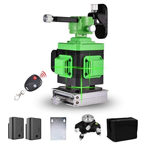 Kreuzlinienlaser 25M, Careslong 3 x 360° grüner Laserpegel, 3D 12 Linien Mit Wall-Stick-Funktion Mit Fernbedienung, IP 54 Selbstnivellierende Vertikale und Horizontale Linie (2pcs Batterie)