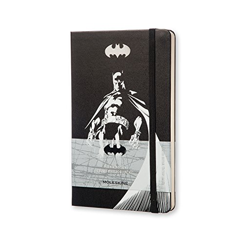 """Moleskine Limited Edition Batman Notebook, Hard Cover, Large (5"""" x 8.25"""") Plain/Blank, Black, 240 Pages"""