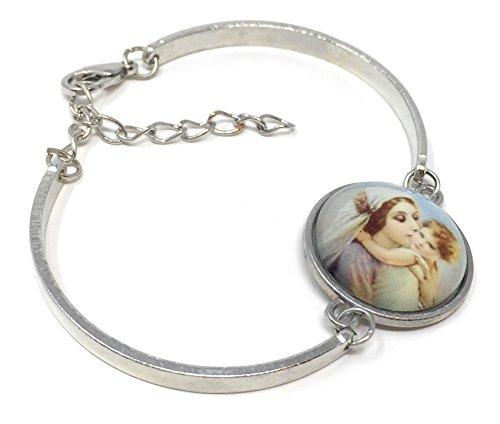 Blazing Autumn Mary Religious Glass Dome Bangle Madonna Charm Bracelet (Mothers Love)