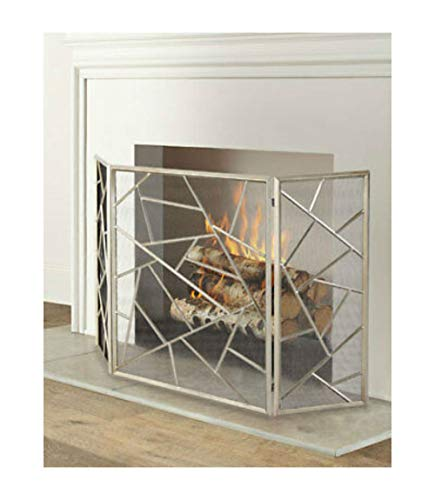 3 Panel Fireplace Screen - Silver Champagne - Protective Mesh Horchow | Julias Boutique