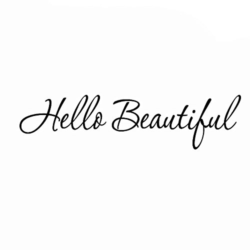 """VWAQ Hello Beautiful Wall Decal Inspirational Quotes Mirror Stickers 1620 (22"""" W X 6"""" H)"""