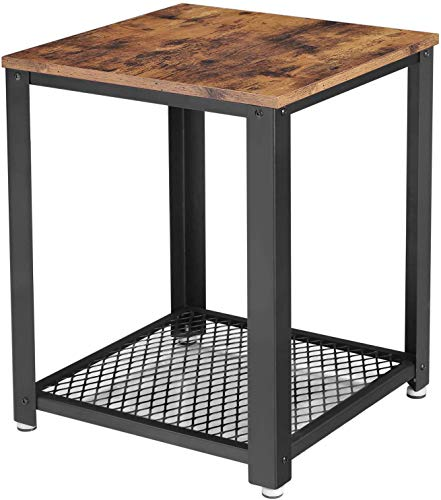 ALPIKA Industrial 2 Tier Side Table, End table, Coffee Table, Nightstand with Storage Mesh, Wood Accent Table with Metal Frame, Easy to Put Together, for Living room, Bedroom, Kitchen, Rustic Brown